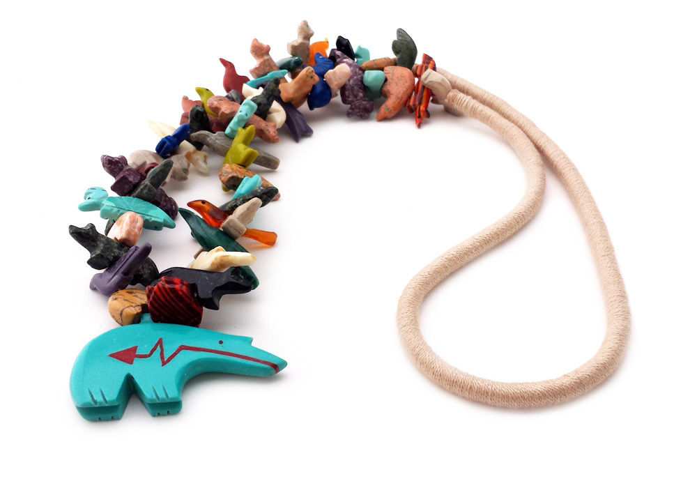 Hand carved zuni bear multicolored mixed animals fetish necklace zuni bear fetish necklace mozeypictures Choice Image